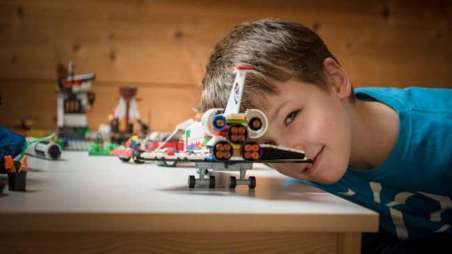boy, lego airplane