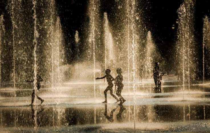 fountain, Nice, children, water, children playing in water