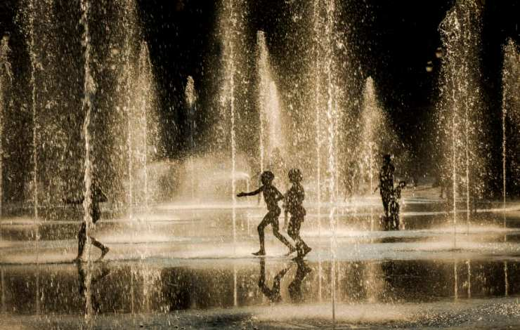 fountain, Nice, children, water, children playing in water