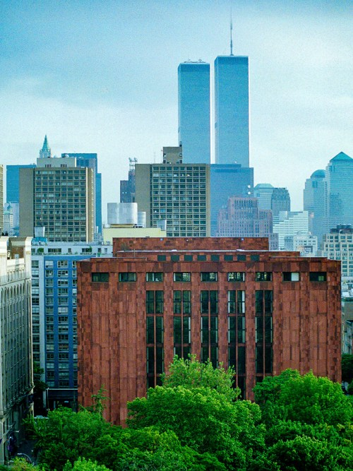 The World Trade Center Towers behind the NYU Library on June 23, 1995.