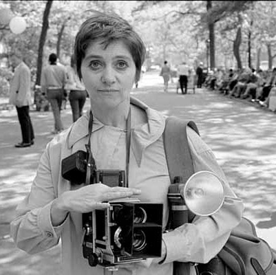 Diane Arbus with her camera in 1967. Photo by Gideon Lewin