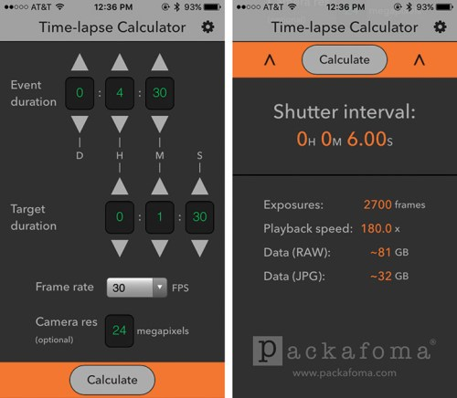 Time-Lapse Calculator app from the App Store makes the math easy.