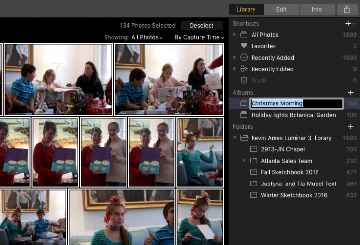 Selected photos in Luminar's gallery are automatically added to an album when a new one is created.