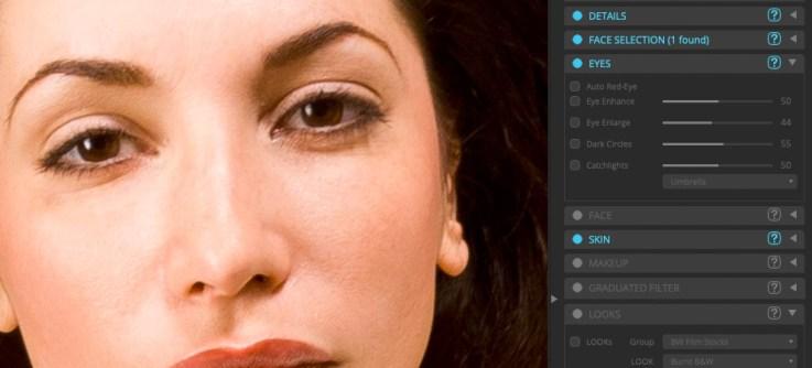 Enlarging the eyes.