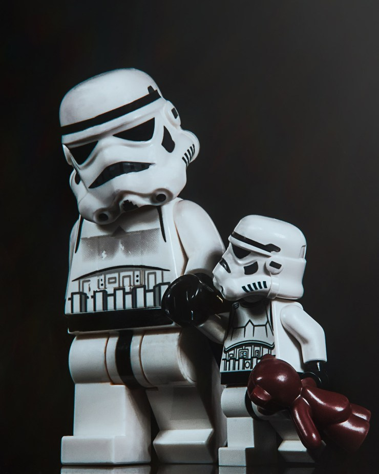 Father and son Storm Troopers on a walk