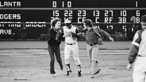 Atlanta photographer Ron Sherman's photograph of Hank Aaron rounding the bases after breaking Babe Ruth's home run record with number 715.