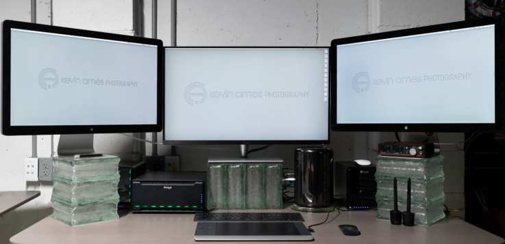My photography post-production studio with the Asus PA32UC front and center.