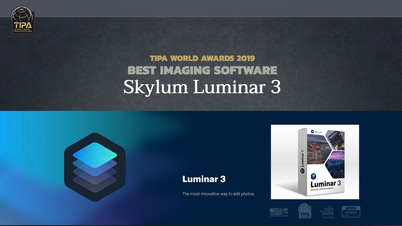 Luminar 3 from Skylum wins the TIPA Best Imaging Software for 2019