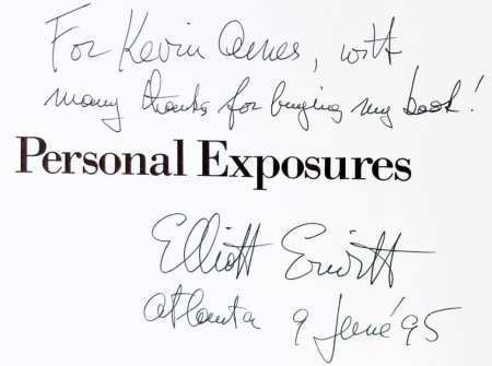 "The inscription of my copy of ""Personal Exposures"""