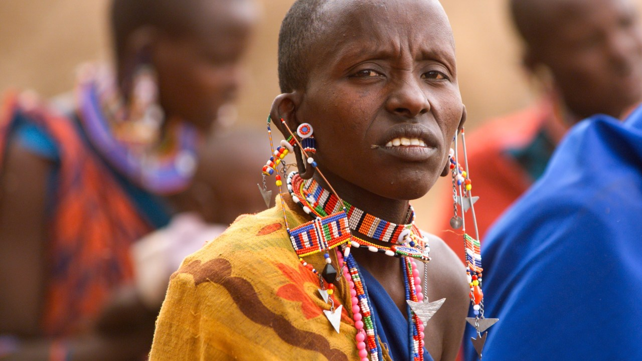 A Maasi woman with her beaded jewelry.