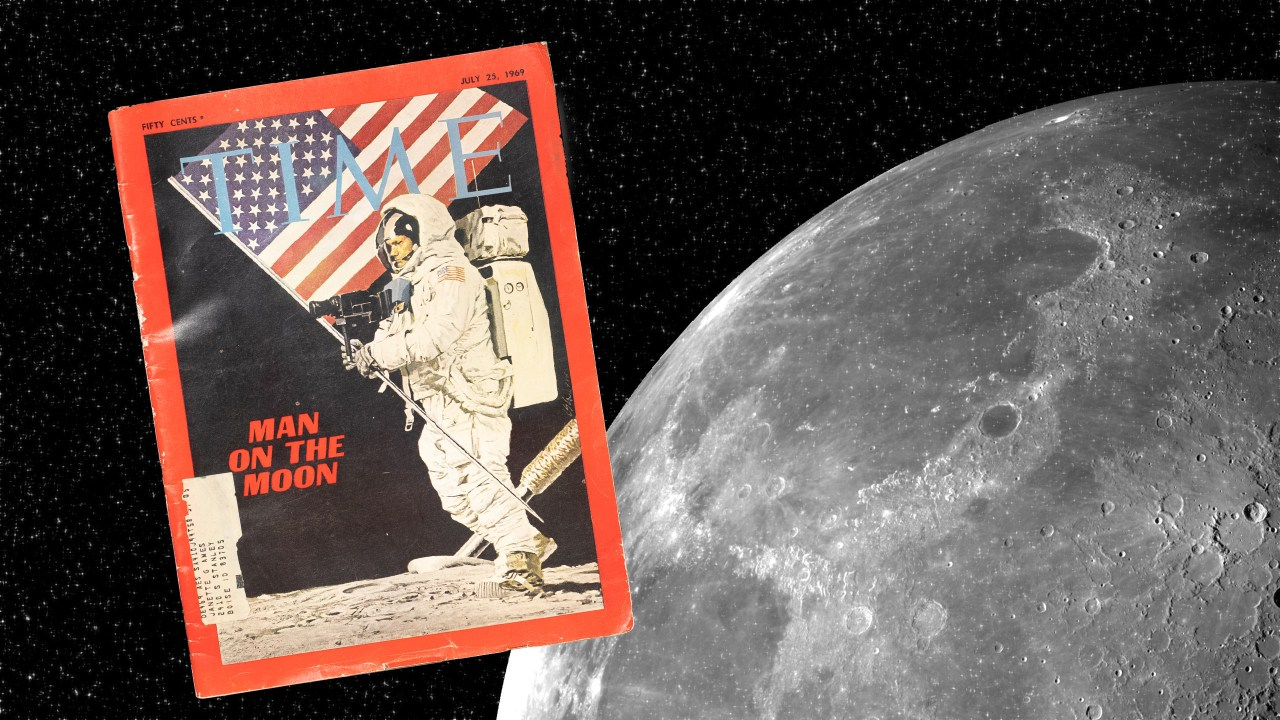 Time magazine and the moon. Photo illustration by Kevin Ames for Photofocus