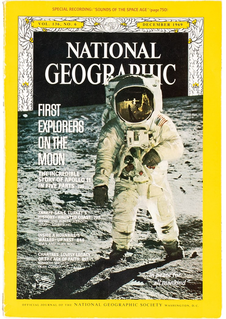 National Geographic magazine featured photos from the first moon landing.
