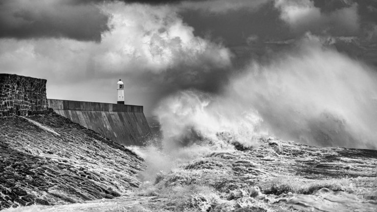 lighthouse in rough seas