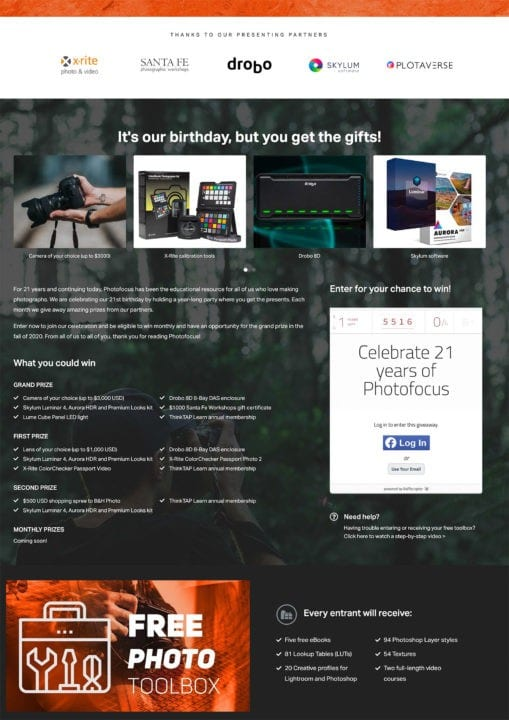Photofocus celebrates 21 contest log in