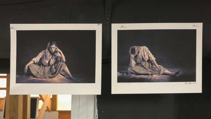2 recent prints held with magnets on ductwork.