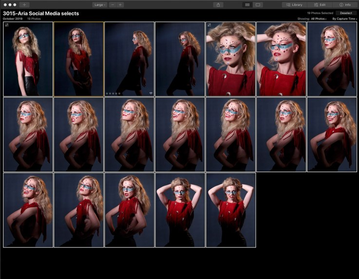 A folder of high resolution Canon RAW files open in Luminar 4