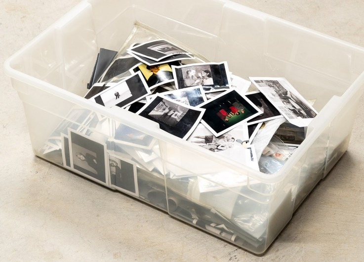 Just one bin of Polaroids to be scanned by the Epson FF-650W