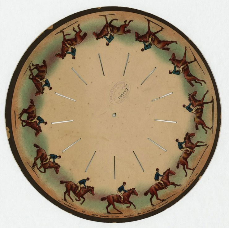 A zoopraxiscope disk by Eadweard Muybridge