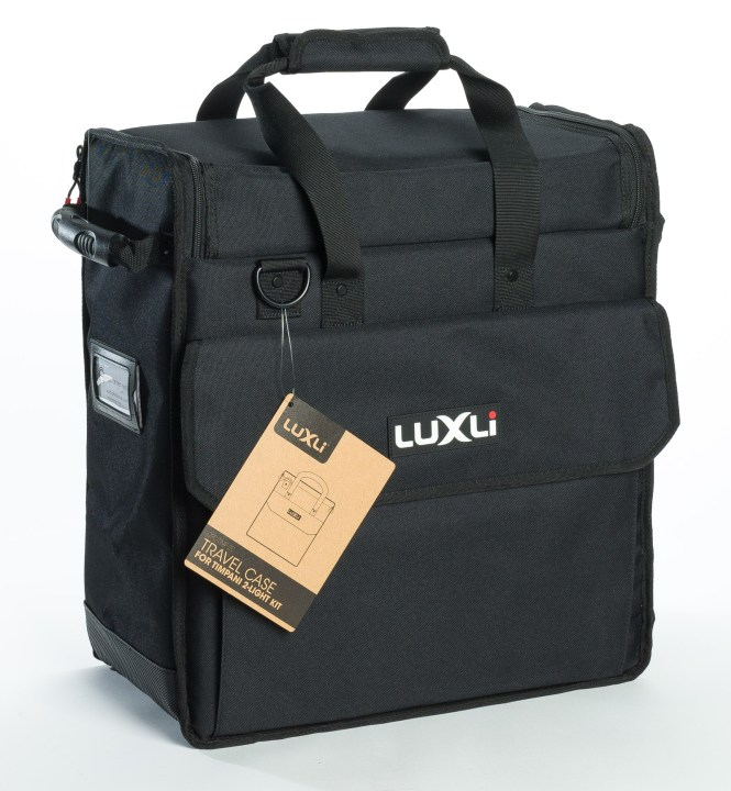 The Luxli Timpani case carries 2 lights or 1 light with a set of accessories.