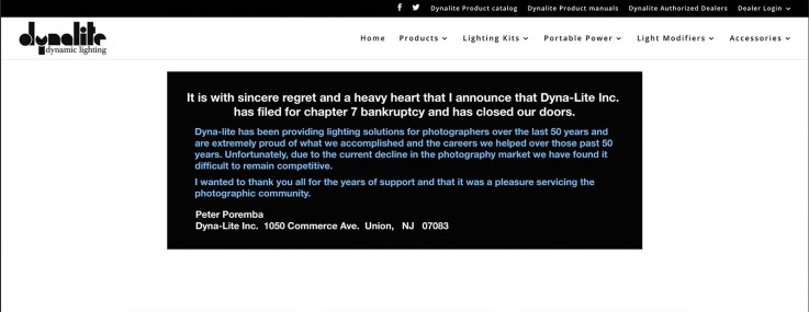 Dynalite closes its doors website announcement 1/18/2020