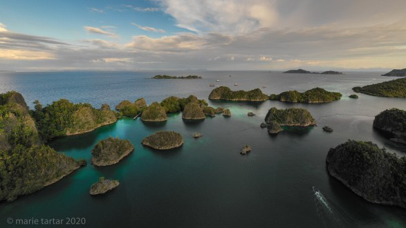 aerial view of Indonesian archipelago in Raja Ampat