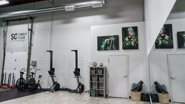 Huge photo prints in a gym
