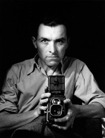 Robert Doisneu self portrait in mirror with a Rolleiflex twin lens camera