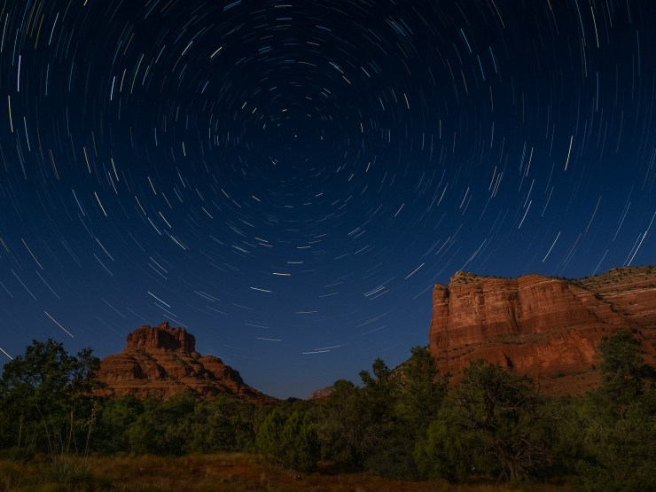 stars over red rocks photo