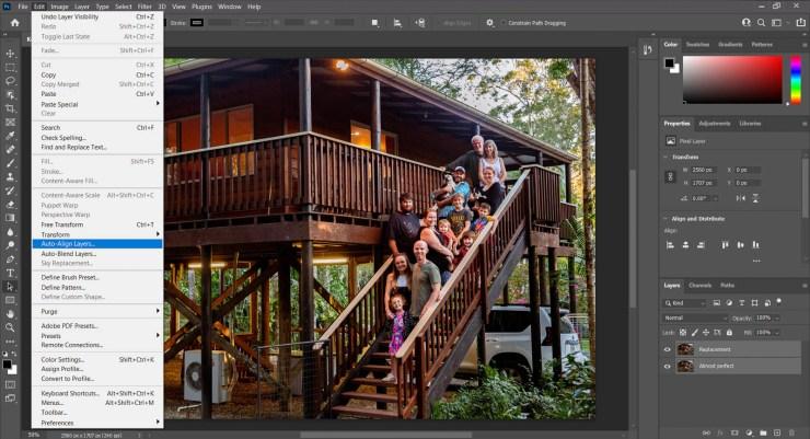 Screenshot Photoshop auto align layers