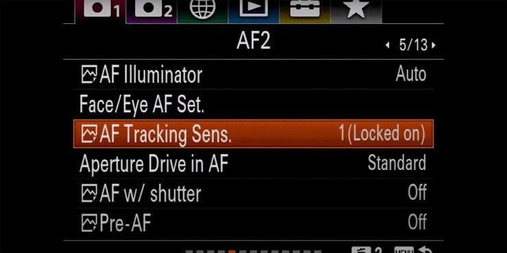Sony setting AF Tracking Sens