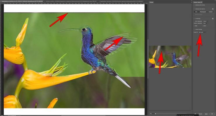 Adobe Photoshop Content aware fill dialog box