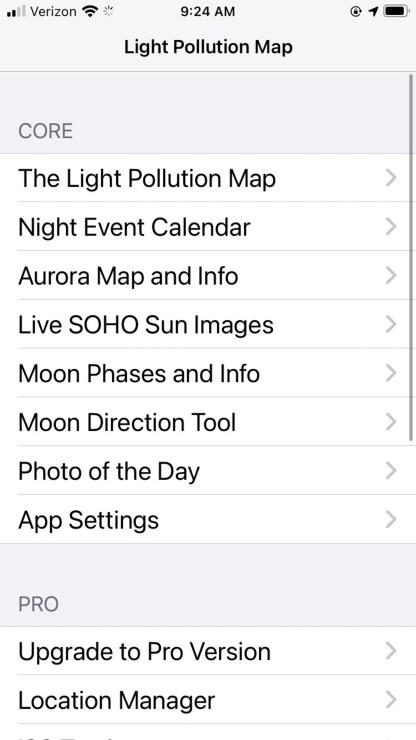 Light pollution, app, map, stars