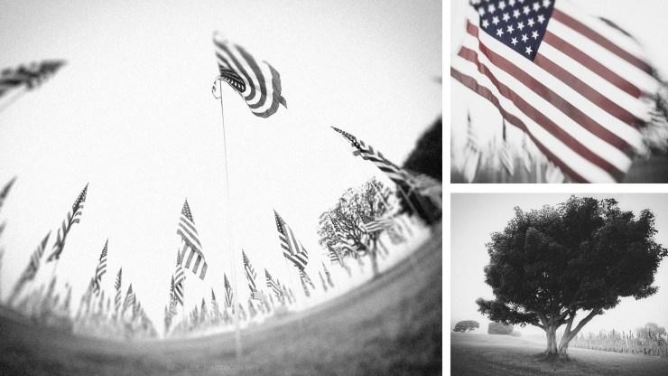 HEADER-PATRIOT DAY 20th Anniversary Photofocus Pepperdine flags 9-11 September-black and white-3 photos-NOISY