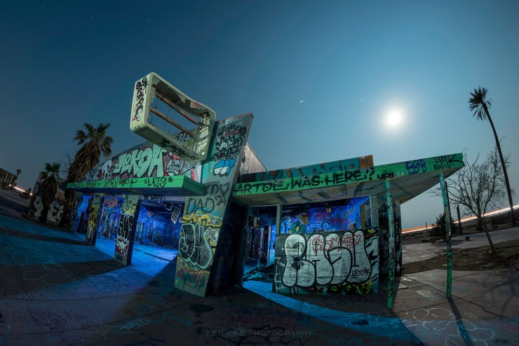 A fisheye view of what used to be the arcade.  Using a handheld ProtoMachines LED2 light painting device, I lit the interior and exterior of the structure.