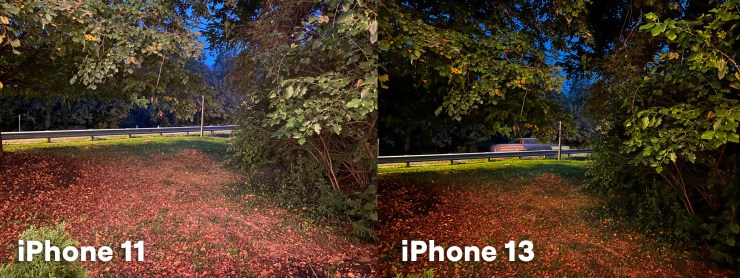 Comparng the nighttimes shots from iPhone 11 and iPhone 13 Pro