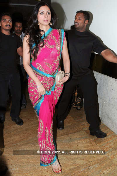 Tabu loves to show off in figure hugging sarees!