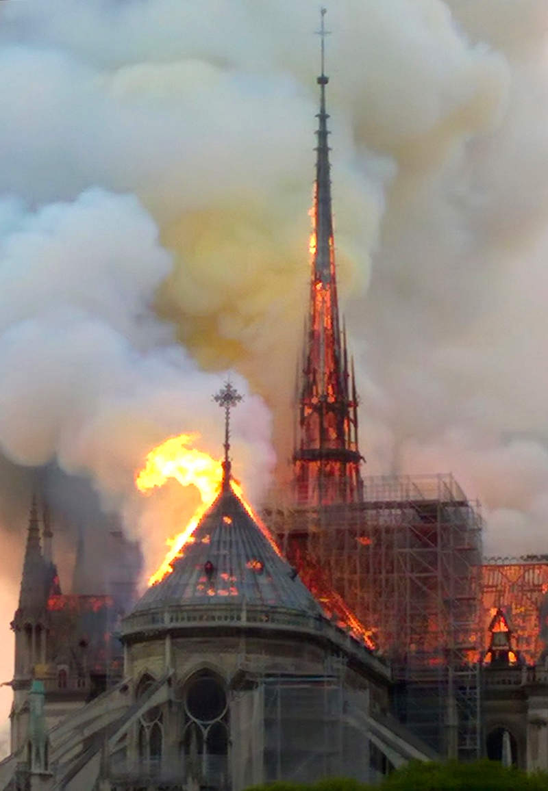 Notre Dame Fire Huge Engulfs Notre-dame Cathedral In