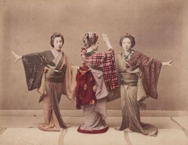 Geishas Danseuses - Tirage albuminé - Photographie japonaise ancienne