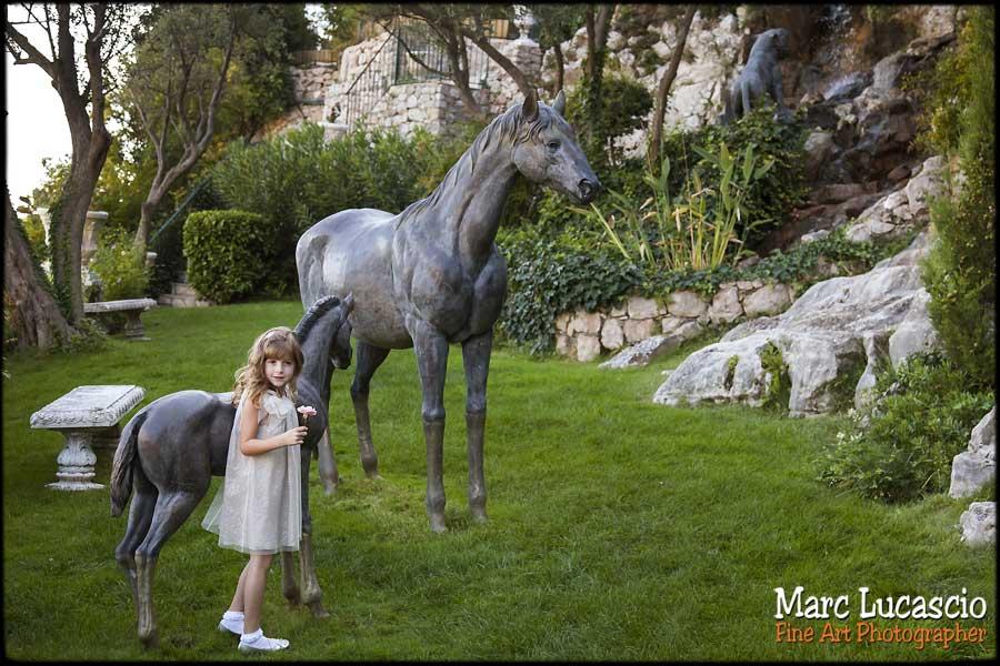 enfant chevaux et portrait