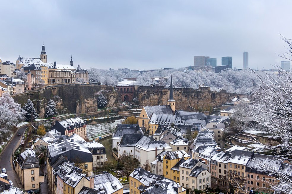 snow in Luxembourg city during winter