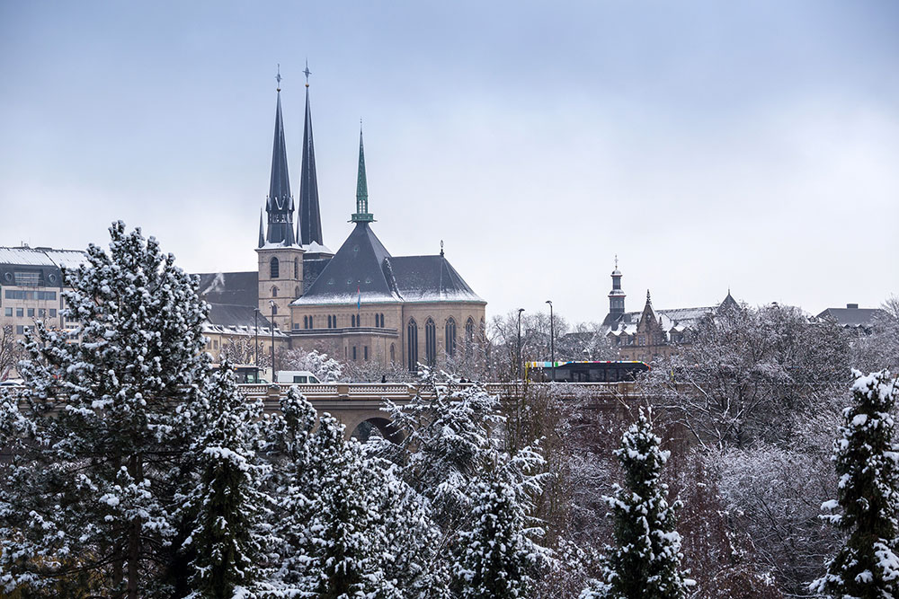 Notre Dame Cathedral Luxembourg in winter