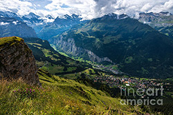 Aerial view of the Lauterbrunnen Valley from Mannlichen