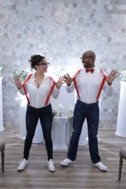 Photographers of Las Vegas - Wedding Photography- wedding bride and groom in suspenders and thick rimmed glasses