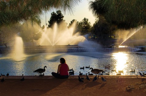 Photographers of Las Vegas - Portrait Photography - Sunset Park woman with geese