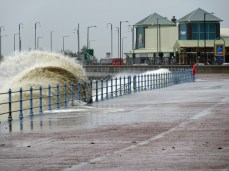 Morecambe Promenade Morecambe Lancashire 25th January 2016, High Tide this afternoon saw waves breaking over the Sea Wall at Morecambe