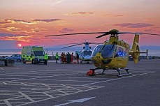 BBattery Car Park, Morecambe, Lancaster, 8th May 2016, The North West Air Ambulance Airbus Helicopters EC-135 and Great North Air Ambulance Airbus Helicopters Dauphane helicopters, responded to an emergency incident in Morecambe on Sunday Evening, with both helicopters landing in the Battery Car Park off the Promenade The helicopters medical teams along with Paramedics from the North West Amulance Service transferred the casualty from Stanley Road, Morecambe after being freed by Lancashire Fire and Rescue service after being impailed on railings, to the Battery Car Park, by ambulance for evacuation by the Great North Air Ambulance Services Helicopter.