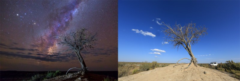 Composition astrophotography daytime