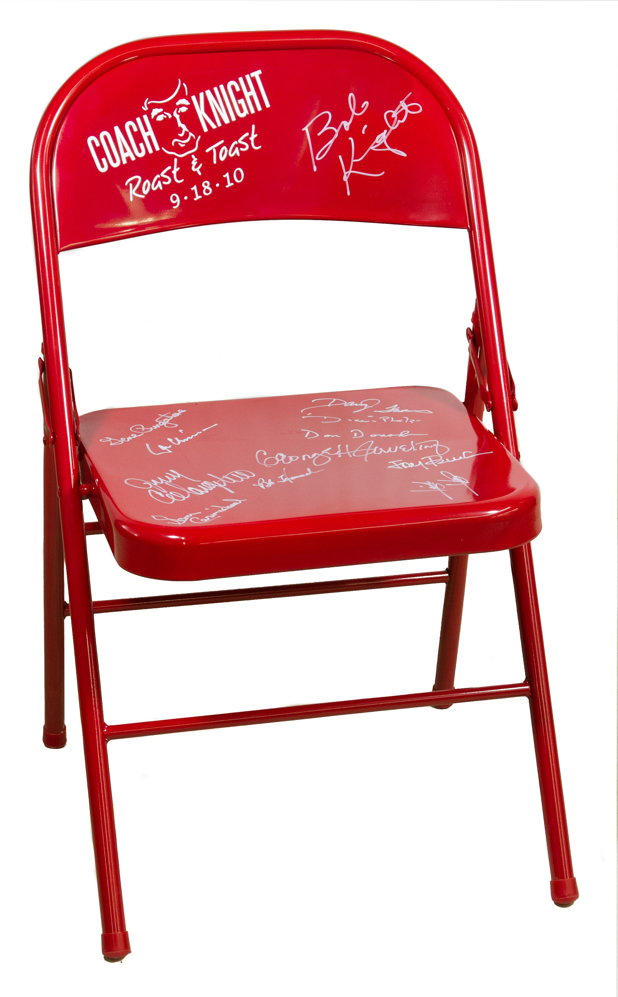 folding chair auction klismos design autographed quotbobby knight roast and toast quot red
