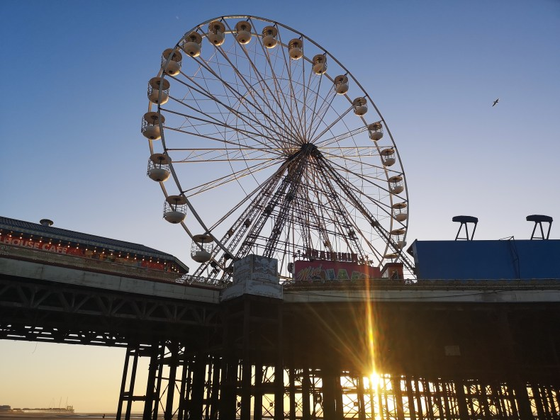 Ferris Wheel on Blackpool's Central Pier at sunset