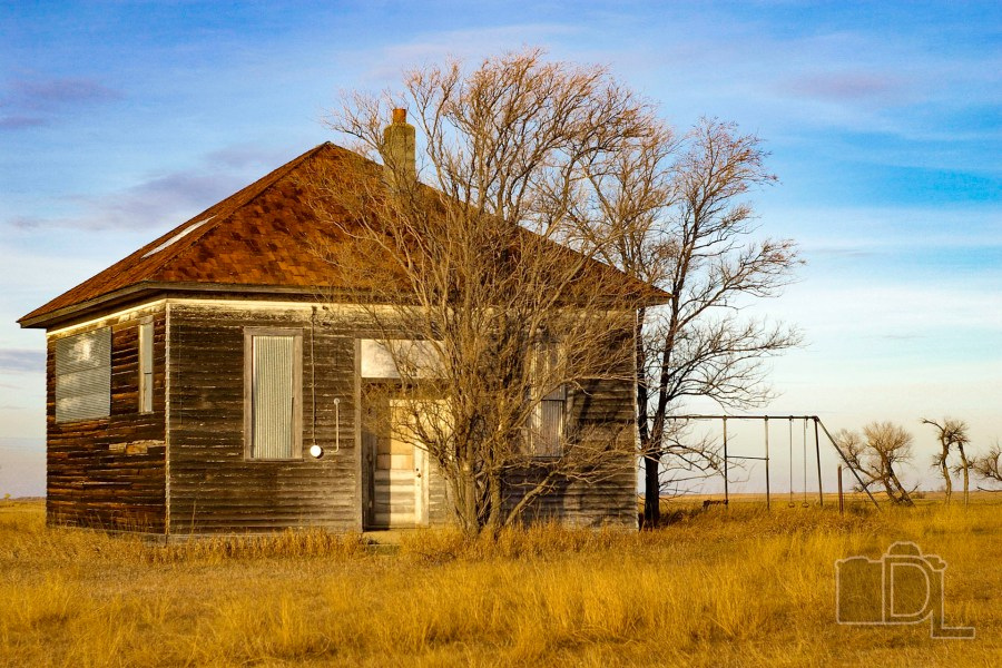 An abandoned one-room schoolhouse in South Dakota's McPherson County.